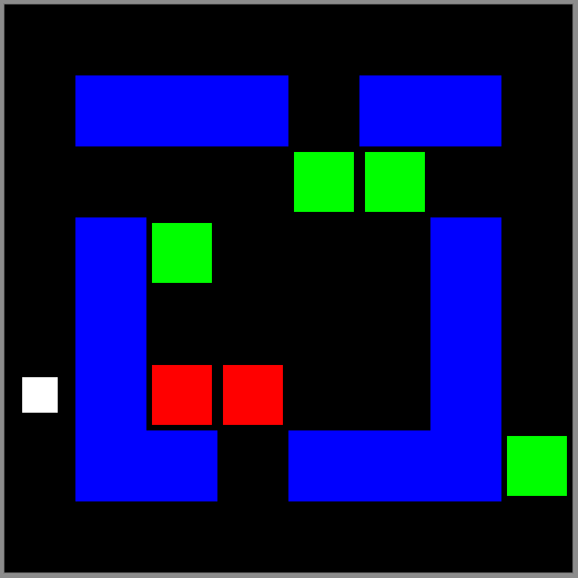 The player is the white square. Water is blue. Zombies are green and red.