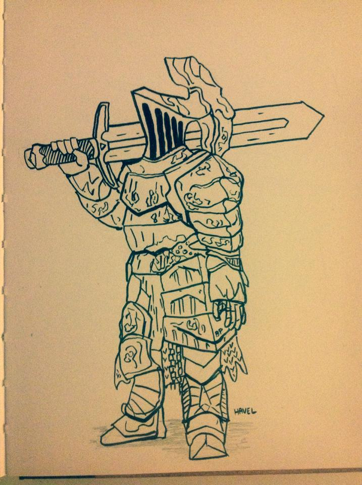 A  sketch of Havel from Dark Souls.